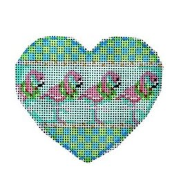 Associated Talent Heart ornament w/Flamingos