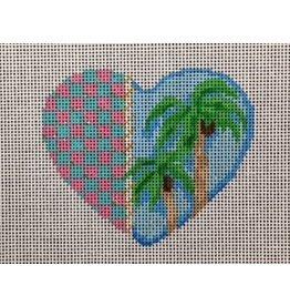 Associated Talent Heart ornament w/palm trees