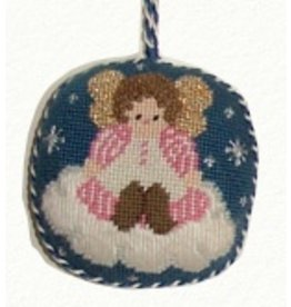 Canvas Connection Little girl angel ornament - blue background<br />