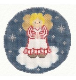Canvas Connection Little Girl Angel ornament w/blue background<br />
