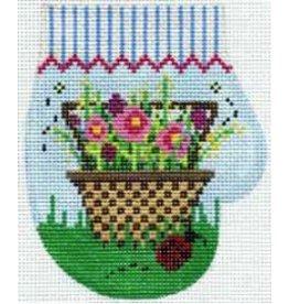 Elizabeth Turner Garden basket Mitten ornament<br />5&quot; x 5.5&quot;