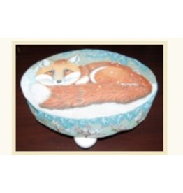 Fleur de Paris Snowy Red Fox Footstool w/Pineneedles sides<br />