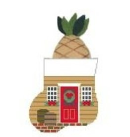 Kathy Schenkel Colonial Christmas Wreath Mini Stocking ornament w/Pineapple