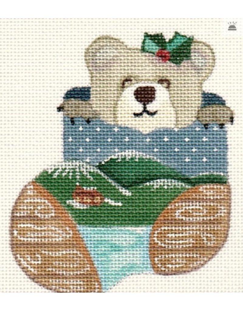 A Bradley Wood Bear Mini Stocking ornament