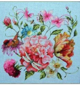 Colors of Praise Floral/Dragonfly<br />15&quot; x 15&quot;
