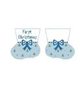Kathy Schenkel First Christmas Booties ornament<br />(Light Blue)