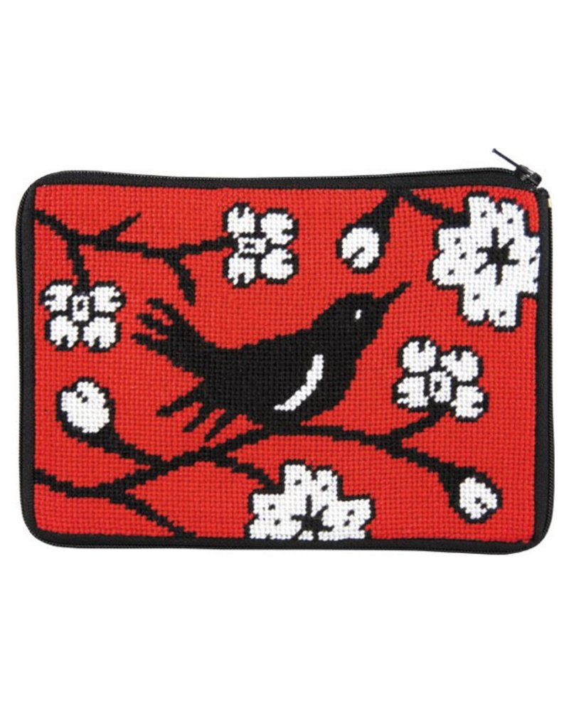Alice Peterson Black Bird on Red Background<br />Cosmetic Case