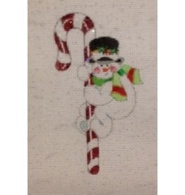 Strictly Christmas Snowman on a Candycane<br />Ornament<br />5&quot;x3&quot;
