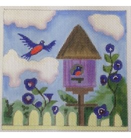 BB Needlepoint Design Bird House w/bluebirds &amp; yellow fence<br />