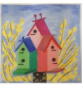 BB Needlepoint Design Bird House - 3 houses with yellow flowers<br />