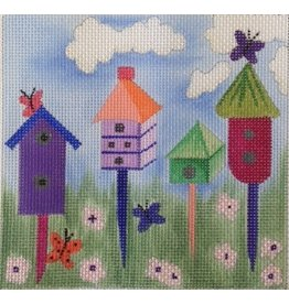 BB Needlepoint Design 4 Birdhouses with Butterflies