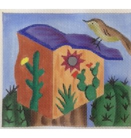BB Needlepoint Design Orange Birdhouse w/Cactus