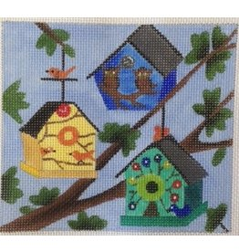 "BB Needlepoint Design 3 Birdhouses in a tree  5""x5"""