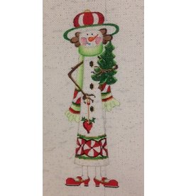 """Strictly Christmas Snowlady w/Green Scarf and  Red Shoes holding tree   11"""" x 5"""""""