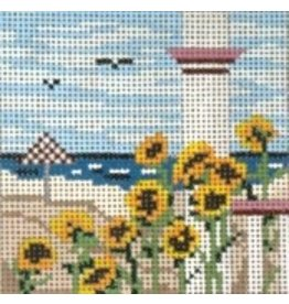 Needle Crossing View of ocean from porch with black-eyes susans