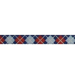 Elizabeth Turner Argygle - Navy background w/Gray/Red/Khaki belt