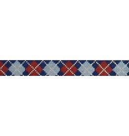 Elizabeth Turner Argygle - Navy background w/Gray/Red/Khaki belt