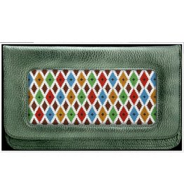 Colonial Needle Green Metallic Clutch<br />