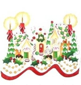 Strictly Christmas Stocking Cuff  - Gingerbread Houses & Candles