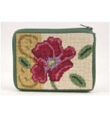Alice Peterson Red Poppy/Gold coin purse/credit card case