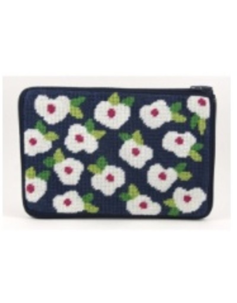 Alice Peterson Navy Floral cosmetic purse