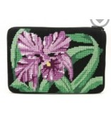 Alice Peterson Orchid w/black background cosmetic purse