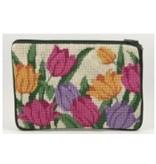 Alice Peterson Victorian Tulips /White background cosmetic  purse