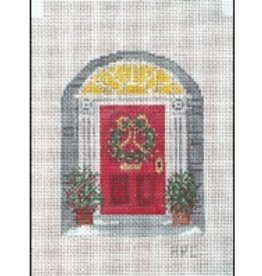 Winnetka Red Front Door at Christmas - ornament