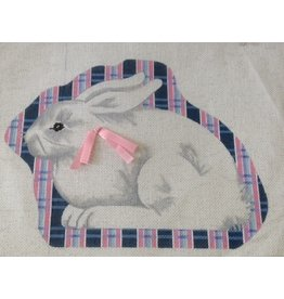 Bunny - with dark blue & pink plaid background