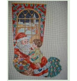 Princely Santa with little boy on his lap stocking
