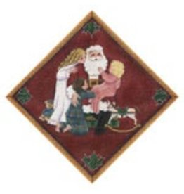 Rebecca Wood Santa & children square for end of tree skirt