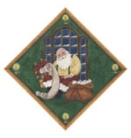 Rebecca Wood Santa reviewing list square for tree skirt
