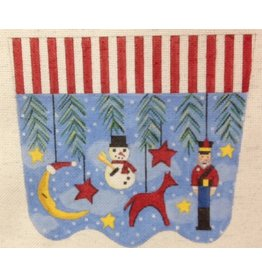 Gayla Eliott Designs Nutcracker, snowman, reindeer & Moon stocking topper