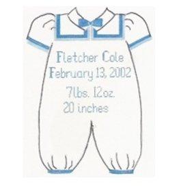 Stitch-It Boy Baby Clothes Announcement<br />11&quot;x 9&quot;