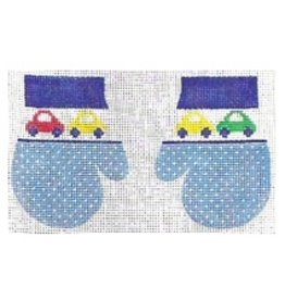 Stitch-It Pair of Blue Mittens w/ cars - ornament