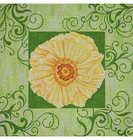 JP Needlepoint Yellow flower with green border<br />12&quot;x12&quot;