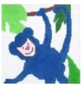 "Jean Smith Designs Monkey - 4"" Square"