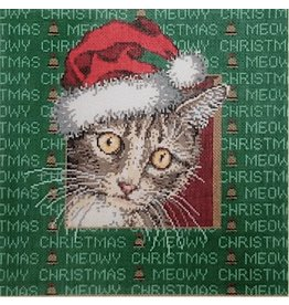 Fleur de Paris Meow - Cat w/ Santa hat<br />10&quot; x 10&quot;