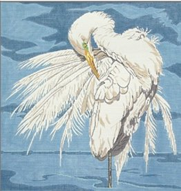 Barbara Russell Egret/ blue background<br />14.5&quot; x 14.5&quot;