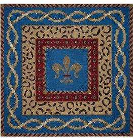 JP Needlepoint Fleur w/Leopard Skin &amp; Vines<br />13&quot; x 13&quot;
