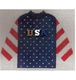 Stitch-It Specialty Button Sweater blue/red with USA buttons ornament