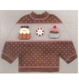 Stitch-It Specialty Button Sweater  brown . cupcake buttons - ornament