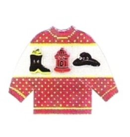 Stitch-It Specialty  Button Sweater red w/firemen boots, hat & hydrant