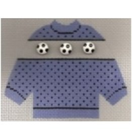Stitch-It Specialty Button Sweater blue w/scoccer balls ornament