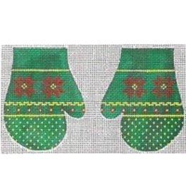 Stitch-It Pair of Green Mittens w/Poinsettas ornament