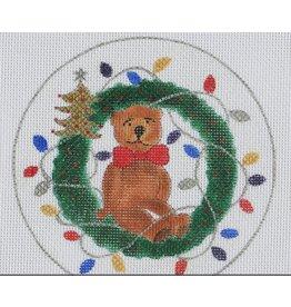 BB Needlepoint Design Teddy w/wreath<br />5&quot; round