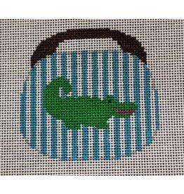 "NeedleDeeva Alligator on Turquoise & White Stripes - Burmuda Bag - ornament 3 1/2"" x 3 1/2"""