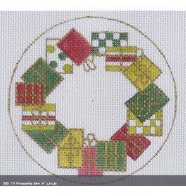 BB Needlepoint Design Presents ornament<br />4&quot; round