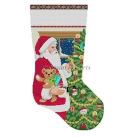 Susan Roberts Santa w/ Milk &amp; Cookies w/Tree, Stocking<br />19&quot; high