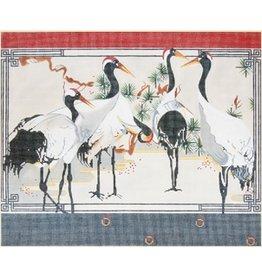 Fleur de Paris Japanese Snow Cranes #2<br /><br />15&quot; x 12.5&quot;
